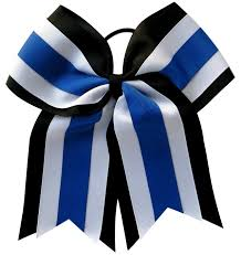 white and blue bows team bows