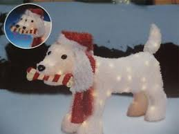 lighted dog christmas lawn ornament handmade retro fabric christmas decorations set of 4 by auntie mims