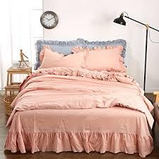 light grey bed skirt amazon com 100 washed cotton comforter set pink blue grey bed