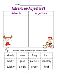 free printable adjective adverb sort worksheet 1 adjective