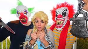 elsa halloween costume scary clown u0026 frozen elsa halloween w spiderman joker police