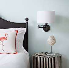 nightstand light bedroom contemporary with blue pendant