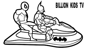 colors jetski w spiderman and batman coloring pages coloring book