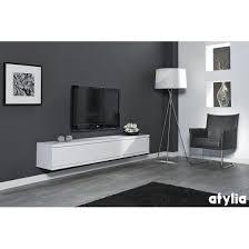 Meuble Tv Longueur Maison Et Mobilier D Intérieur Meuble Tv Design Suspendu Flow Blanc Mat Atylia Prix Meuble Tv