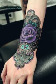 46 feminine lace tattoo designs tattoo colors purple rose