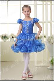 fashion blue kids pageant dress bridesmaid dance party