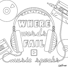 where words fail music speaks coloring page color it