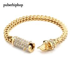 cuban gold bracelet images Buy men 39 s stainless steel gold bracelet iced out jpg
