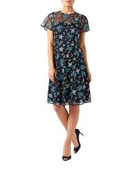 monsoon leya floral embroidered dress navy 12 2417446112