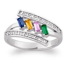 rings for mothers day sterling silver s baguette family birthstone ring with