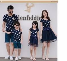 buy star print family matching clothes father mother and daughter