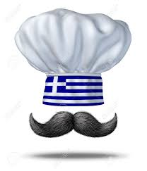 Blue White And Black Flag Greek Cooking And Food From Greece With A Chef Hat With The Blue