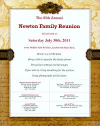 Reunion Invitation Cards Newton Family Reunion 2011 08