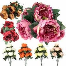 Peony Flowers 7 Head Large Peony Flower Bunch Artificial Silk Flowers Fake