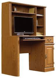 wooden computer desk with hutch
