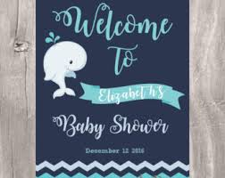 baby shower welcome sign whale welcome sign etsy