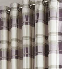 Grey And Purple Curtains Purple Lined Eyelet Curtains Balmoral Check 100 Cotton