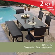Dining Set With 4 Chairs Rectangular Patio Dining Table Outdoor Dining Table With Bench
