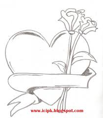 heart and rose drawings in pencil group 80
