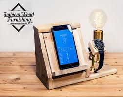 Ipad Nightstand Industrial Pipe Lamp With Ipad Support And Apple Watch Dock Opp