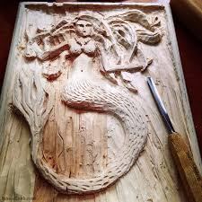mermaid wood carving by renee keith renee sarasvati