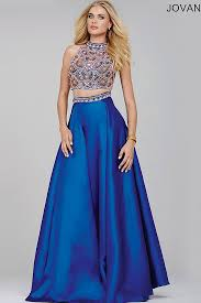 sleeveless blue floor length two piece dress with an a line satin