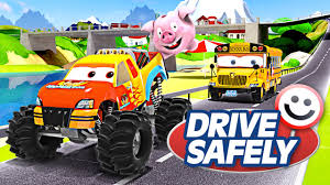 monster truck cartoon videos monster truck video for kids appmink road safety cartoon ft