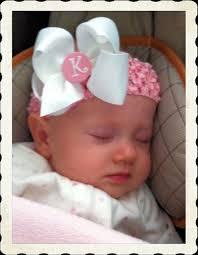 newborn hair bows everyday hair bow monogram center white and baby pink