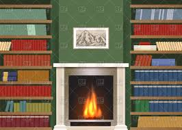 living room with bookshelves and fireplace vector clipart image