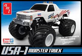 bigfoot monster truck model amazon com round 2 amt usa 1 4x4 monster truck snap together kit