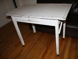 Antique Farmhouse Kitchen Baker Table With Porcelain Enamel Top - Vintage metal kitchen table