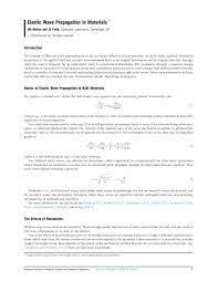 elastic wave propagation in materials pdf download available