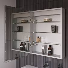 450 x 600 mm illuminated led bathroom mirror cabinet with shaver