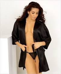 honeymoon lingere honeymoon black satin robe pink or white