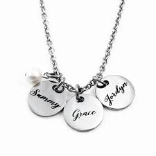 3 name necklace engraved jewelry necklaces script name pearl necklace