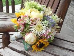 country wedding bouquets sunflower peonies and flowers rustic wedding bouquet silk