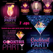 cocktail disco night party poster vector set photoshop tools