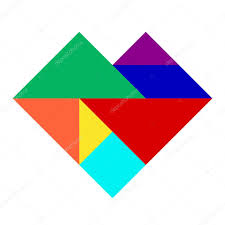 tangram puzzle colorful tangram puzzle in heart shape stock vector thaneeh