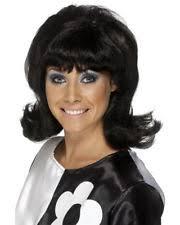 black 60s beehive wig 70s housewife groovy mod gogo wedge