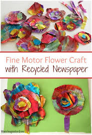 watercolor u0026 recycled newspaper flower craft recycled materials