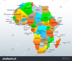 Ghana Africa Map Political Location Map African Continent Countries Stock