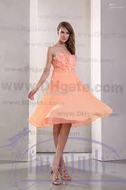 pale orange homecoming dress strapless handmade flower beading