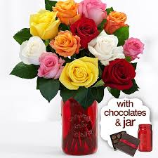 Flowers Delivered With Vase 12 Long Stemmed Valentine U0027s Roses With Red Mason Jar U0026 Chocolates
