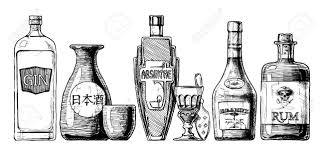 alcohol vector vector set of bottles of alcohol in ink hand drawn style isolated
