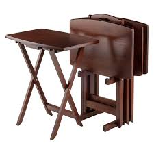 5 Piece Folding Table And Chair Set Winsome Walnut 5 Piece Curved Rectangular Tv Tray Set Hayneedle