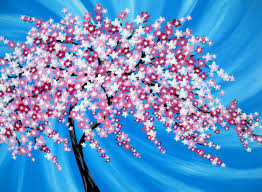 japanese cherry blossom tree painting of a cherry blossom