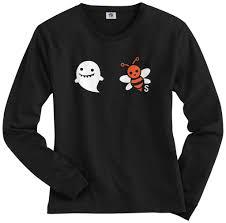 halloween long sleeve t shirts threadrock tees for adults and kids boobees ghost u0026 bee