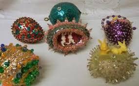 6 handmade beaded sequin easter eggs jeweled christmas tree