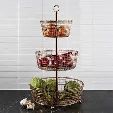 tiered fruit basket bendt 3 tier copper fruit basket crate and barrel