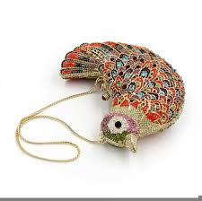 Women Luxury Crystal Clutch Bag Evening Party Bag Colourful Bird
